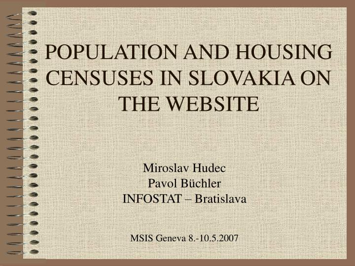 population and housing censuses in slovakia on the website n.