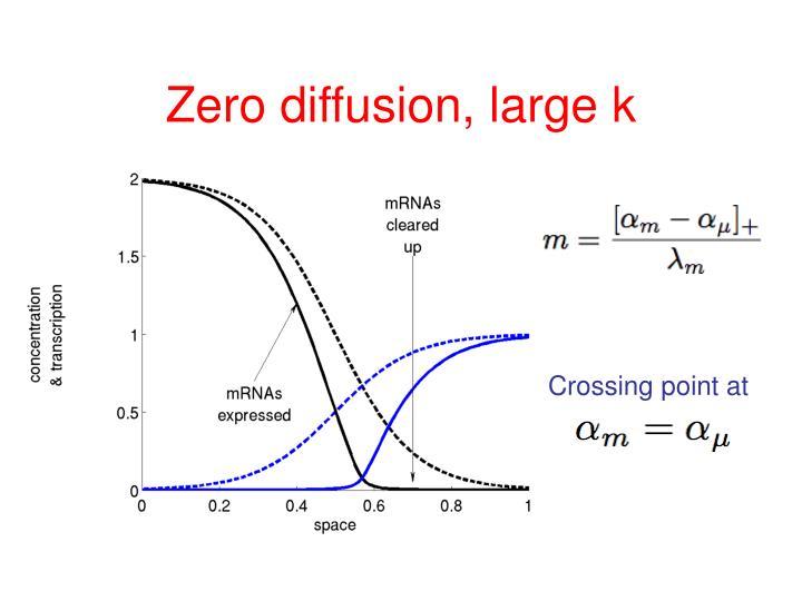 Zero diffusion, large k