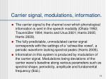 carrier signal modulations information