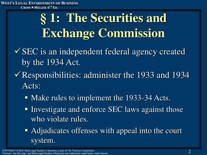 1 the securities and exchange commission