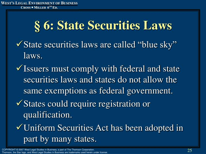 § 6: State Securities Laws