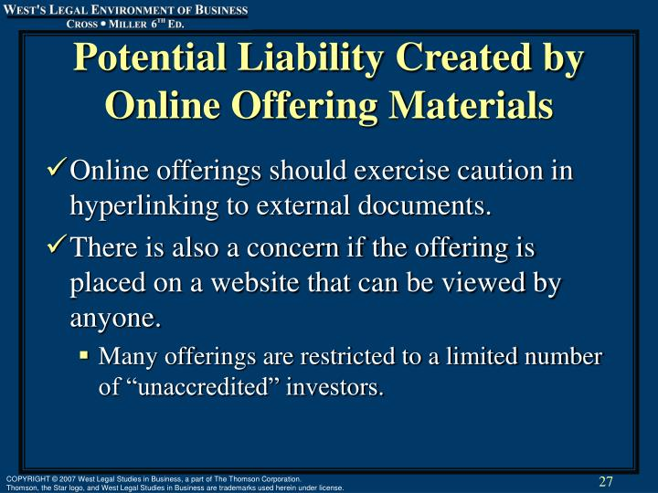 Potential Liability Created by Online Offering Materials