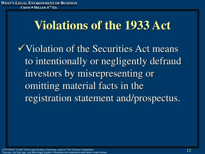 Violations of the 1933 Act