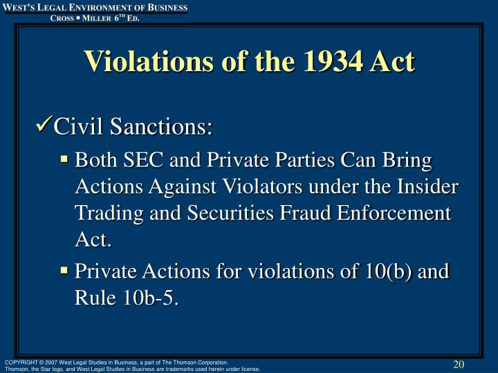 Violations of the 1934 Act