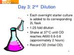 day 3 2 nd dilution