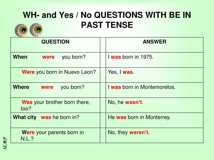 WH- and Yes / No QUESTIONS WITH BE IN PAST TENSE