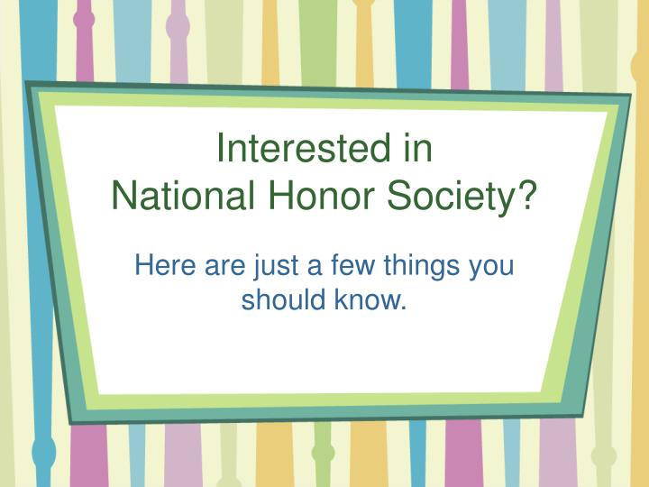 interested in national honor society n.