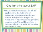 one last thing about saif