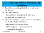 25 3 triacylglycerol metabolism an overview