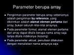 parameter berupa array