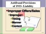 antifraud provisions of 1933 liability