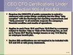 ceo cfo certifications under section 906 of the act