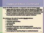 codes of ethics continued