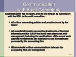 communication with audit committee