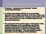 critical accounting estimates