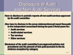 disclosure of audit and non audit services