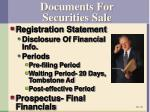 documents for securities sale
