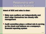 relationship with outside auditors