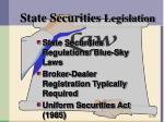state securities legislation