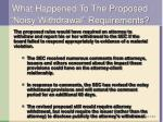 what happened to the proposed noisy withdrawal requirements
