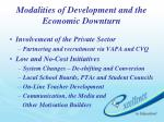 modalities of development and the economic downturn1