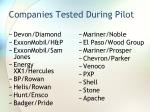 companies tested during pilot