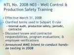 ntl no 2008 n03 well control production safety training