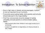 introduction to school nutrition
