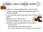 summary basic facts on health