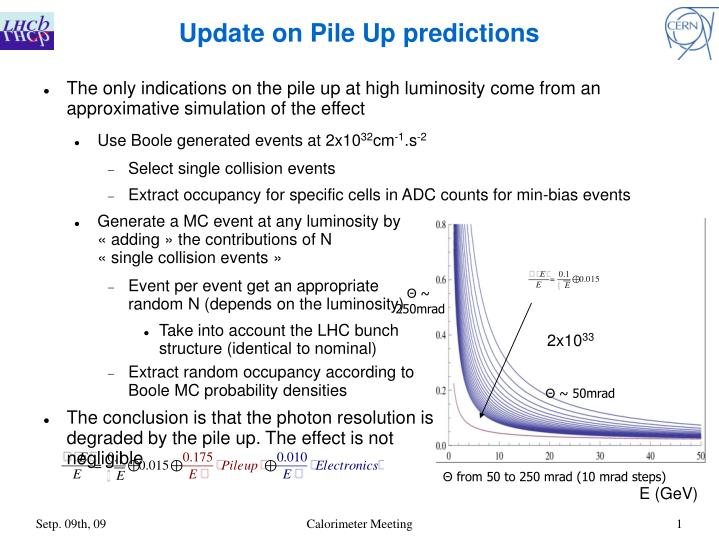 update on pile up predictions n.