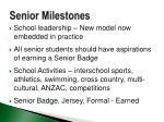 senior milestones