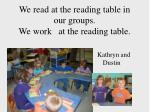 we read at the reading table in our groups we work at the reading table