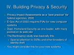 iv building privacy security