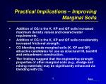 practical implications improving marginal soils