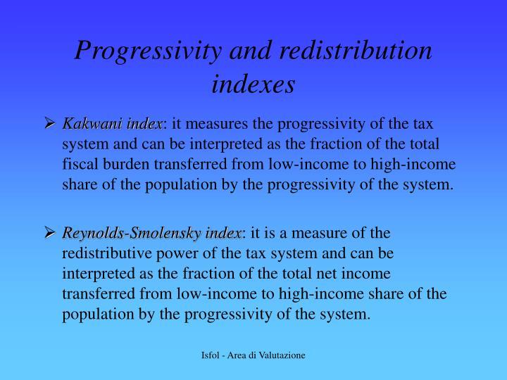 Progressivity and redistribution indexes