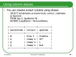 using column aliases