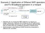 scenario 2 application of different wifi operators and fix broadband operators in a hotspot