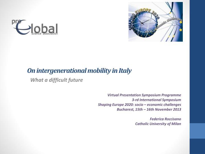 on intergenerational mobility in italy n.