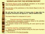 workplan for the interim report