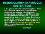 desenvolvimento agr cola sustent vel