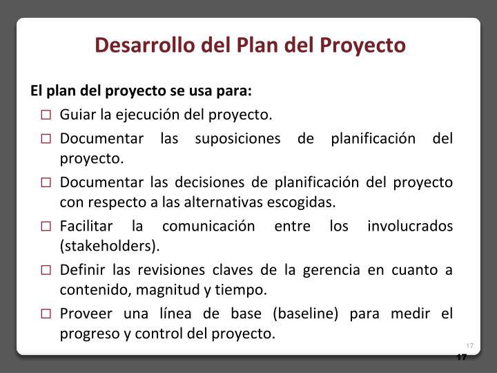 Desarrollo del Plan del Proyecto