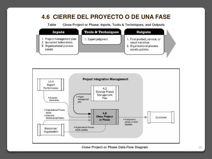 4.6  CIERRE DEL PROYECTO O DE UNA FASE