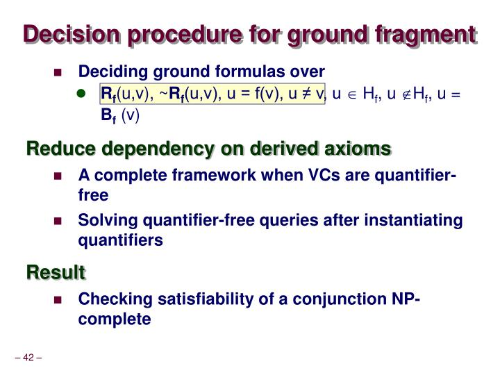 Decision procedure for ground fragment
