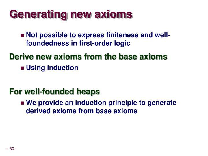 Generating new axioms