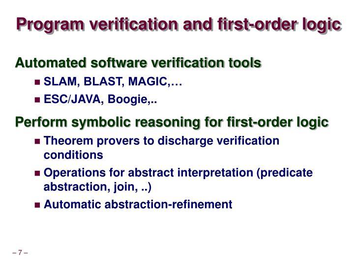 Program verification and first-order logic