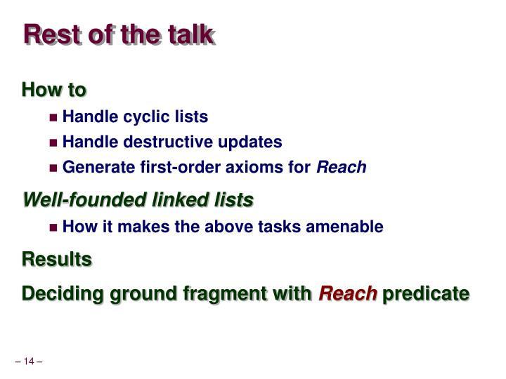 Rest of the talk