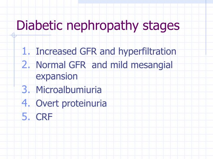 Diabetic nephropathy stages