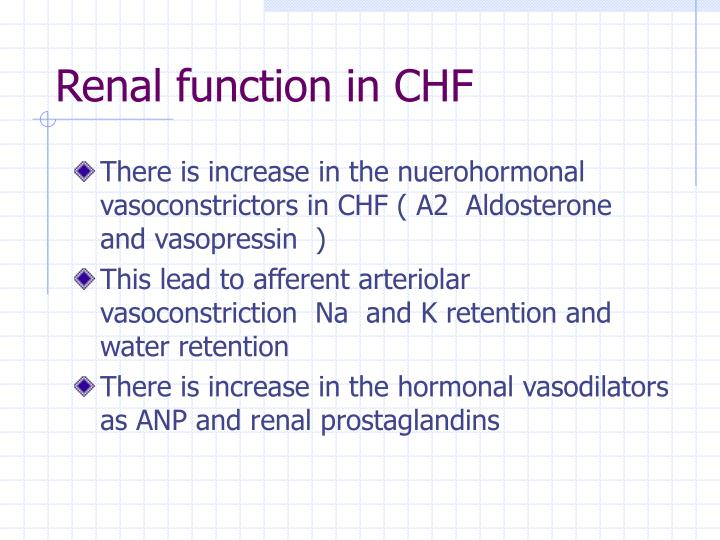 Renal function in CHF