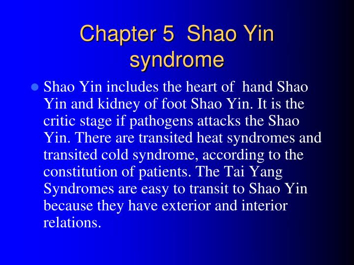 chapter 5 shao yin syndrome n.