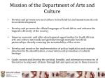 mission of the department of arts and culture